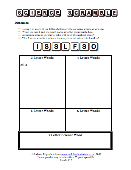 Science Scramble Puzzles