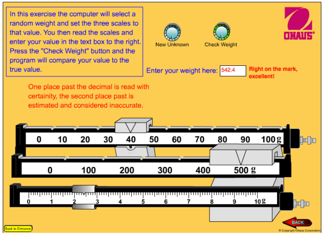 Image: Ohaus Scale Reading Exercise