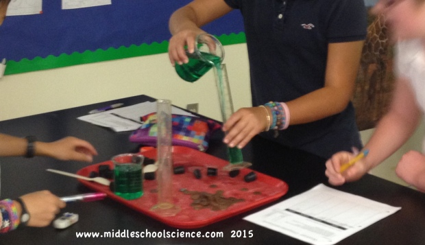 Pouring water into the graduated cylinder - approximately 50 mL.