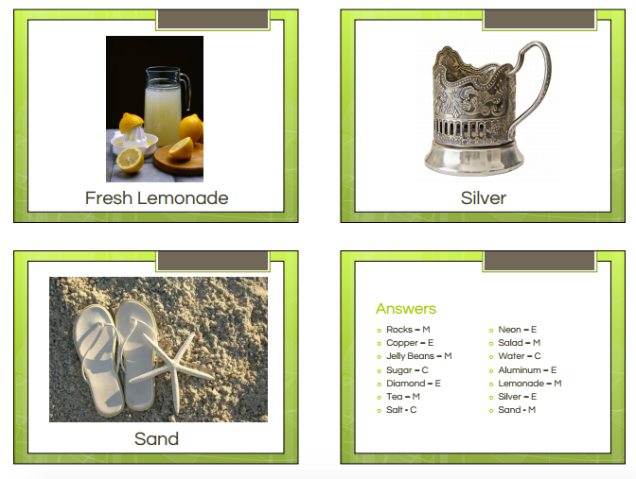 Elements, Compounds, and Mixtures Classification Activity – Middle ...