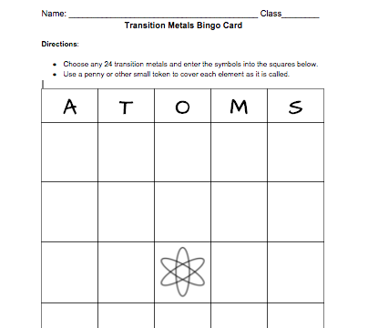 Transition metals bingo card free template middle school science screen shot 2016 01 23 at 15421 pm urtaz Image collections
