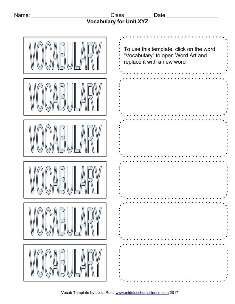 Vocabulary Bundle Google Draw Template For Cut Paste Activities